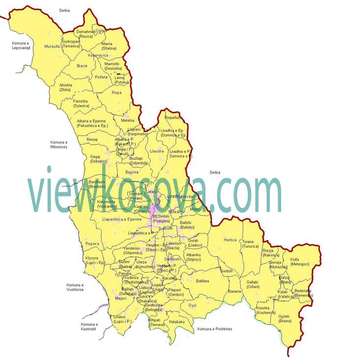 besiana podujeva map fshatrat