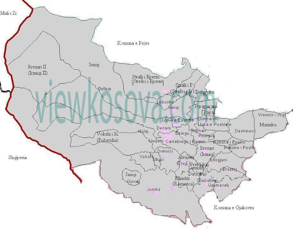 Decani Harta me fshatra
