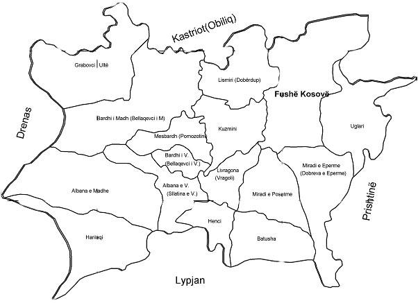fushe kosova map harta me fshatra