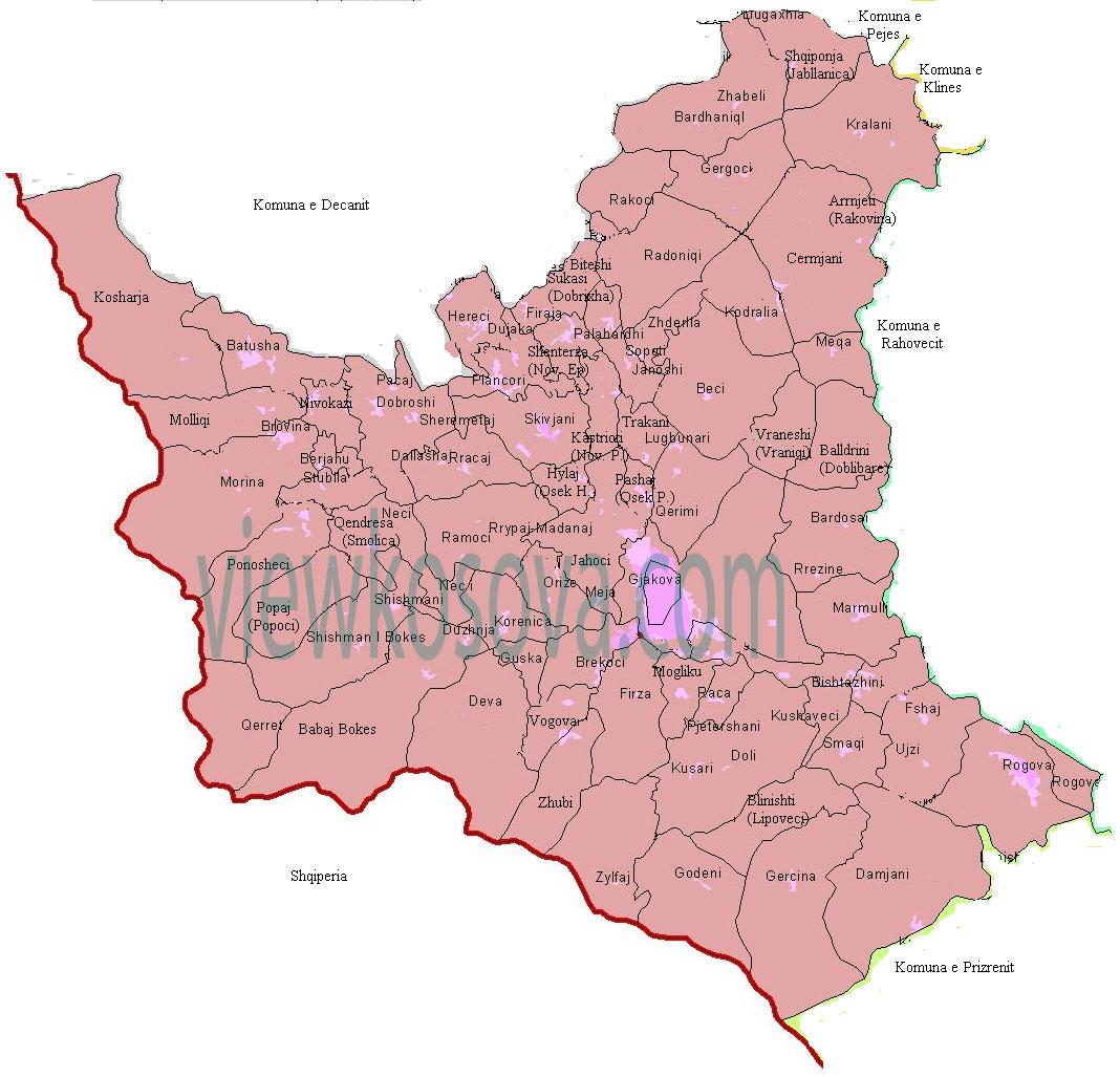 gjakova harta me fshatra