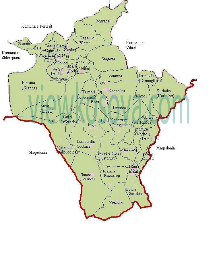 kacanik map harta me fshatra