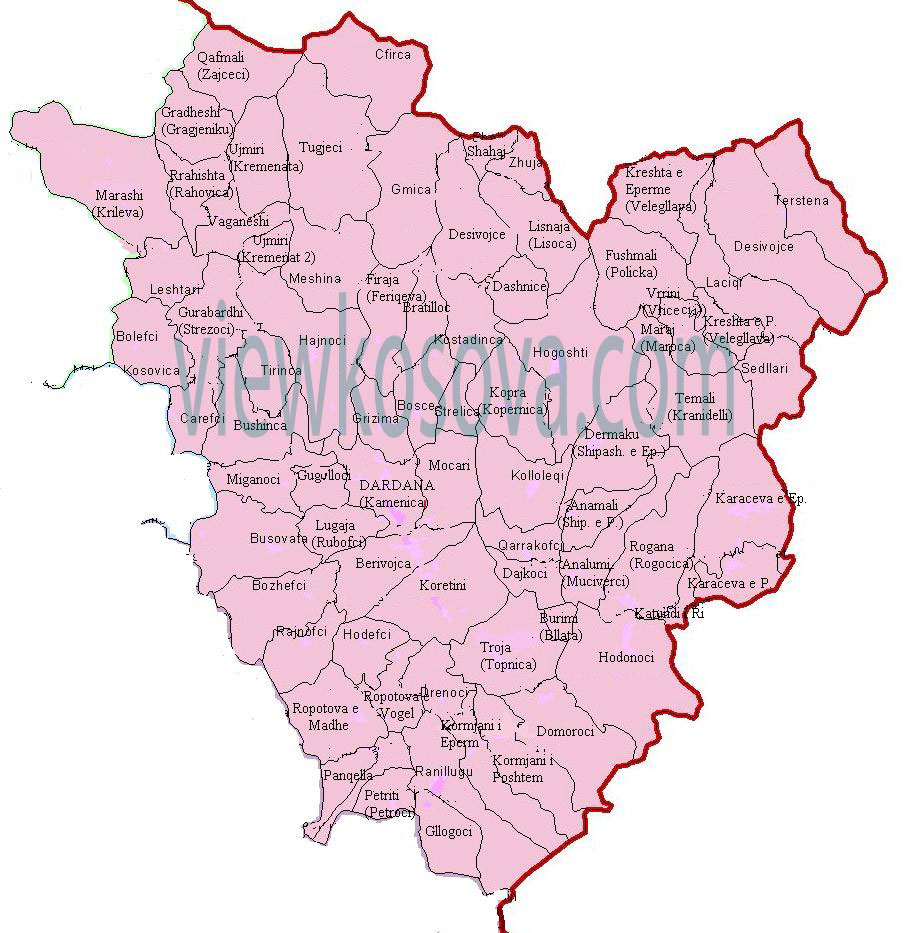 Kamenica Dardana Map harta me fshatra