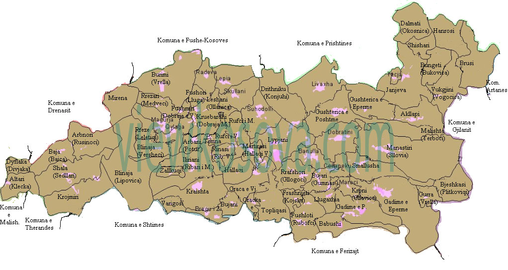 lipjan map harta me fshatra